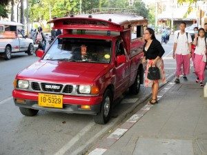 red car or songthaew chiang mai