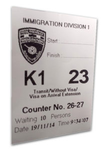 Thai Immigration Queue Ticket